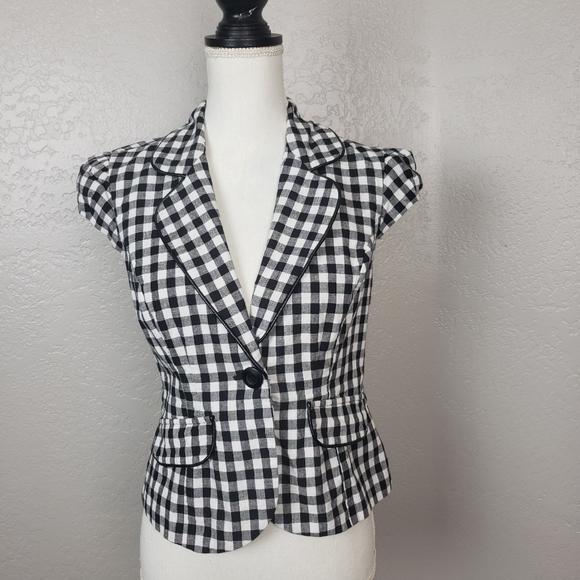 Alyx Jackets & Blazers - Alyx Gingham Print Short Sleeve Blazer Size 8